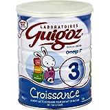 GUIGOZ Croissance 3 - Lait 3ème Age de 1 à 3 ans - Boîte de 800 g - Lot de 3 (3 Boîtes de 800 g)