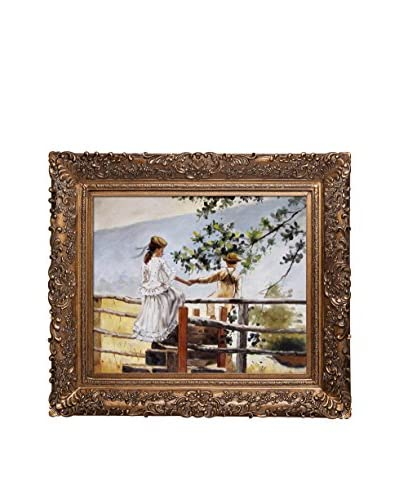 "Winslow Homer ""On The Stile"" Oil Painting"