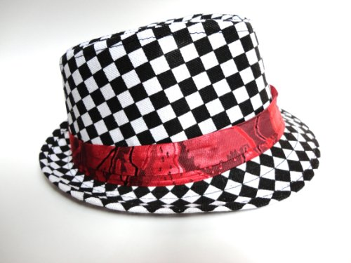 Kid's size fedora hat (Black and White Checker Red Strap)