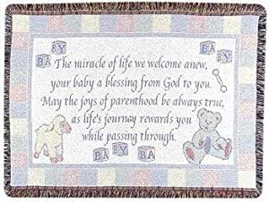 "New Baby Welcome Poem Celebration Afghan Throw Blanket 40"" x 50"""