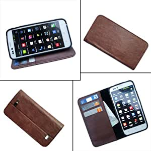 i-KitPit - PU Leather Wallet Flip Case Cover For Micromax Canvas HD A116 (BROWN)