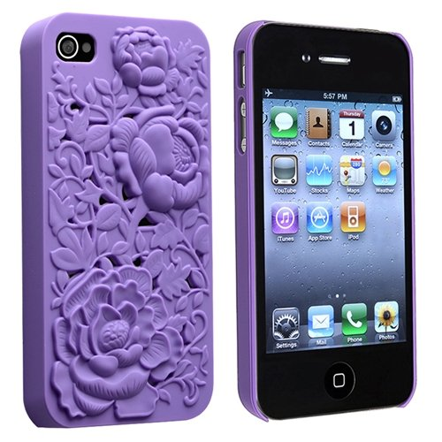 eForCity Snap-on Case Compatible with Apple iPhone 4 / 4S, Purple 3D Rose Sculpture