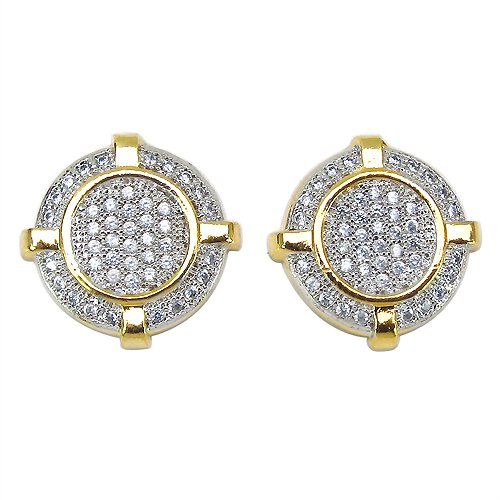 4.70 Grams Micro Pave Setting American Diamond Gold Plated Copper Round Shape Earrings