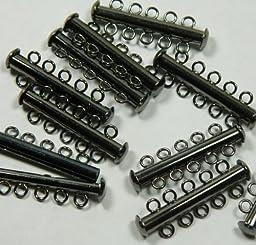 10 Pack Multi 5 Strand Slide Lock Clasps, Gunmetal Black Oxide Plated Brass