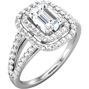 1.78 CARATS EMERALD CUT * EGL CERTIFIED * DIAMOND HALO ENGAGEMENT RING ON 14K SOLID WHITE GOLD