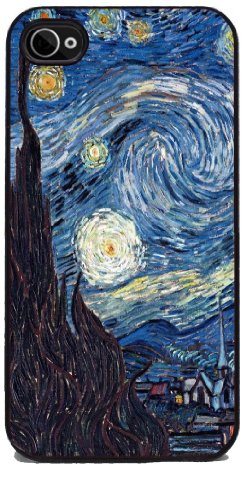 Starry Night by Vincent Van Gogh - RUBBER iPhone 4 or 4s Cover, Cell Phone Case