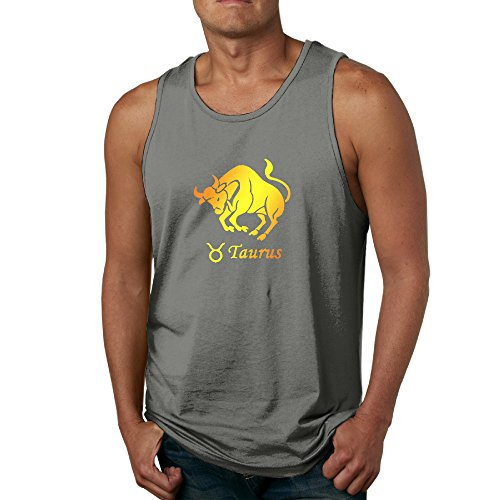 PTCY Taurus Cow Ox Golden Image Men's Customize Tank Top Tank Funny M DeepHeather (Taurus Toaster compare prices)