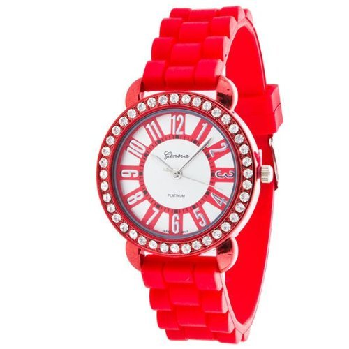 Geneva Designer Inspired CZ Accented Ladies Large Face Silicone Jelly Band Watch - SHINY RED