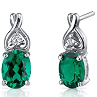 Classy Style 2.00 Carats Simulated Emerald Oval Cut Earrings in Sterling Silver Rhodium Nickel Finish by Peora