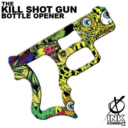 Kill Shot Gun Inked Bottle Opener: Eye Heart Zombies