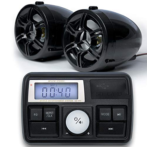 """GoldenHawk 3"""" Waterproof Bluetooth Motorcycle Stereo Speakers 7/8-1 in. Handlebar Mount MP3 Music Player Sound Audio Amplifier System Scooter ATV UTV w/AUX in, FM Radio, USB, SD Card, 12V (Black)"""