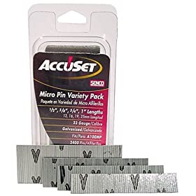 AccuSet A109809 Variety Pack 23-Gauge Galvanized Micro Pin (2,500 per Box)
