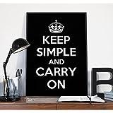 Keep Simple and Carry On ポスター (ブラック) b2サイズ おしゃれ モノトーン