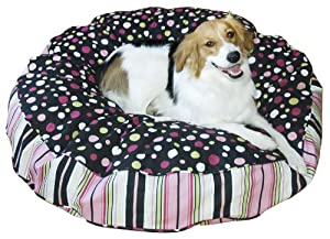 Happy Hounds Scout Deluxe Round Dog Bed, Large 42-Inch, Black/Pink