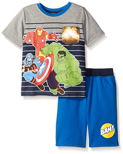 Marvel Little Boys 2 Piece Avengers Knit Short Set with Sublimation Printed Pocket, Grey, 3T