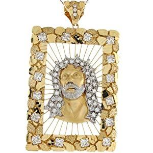 14k Two Toned Gold White CZ Accents Jesus Christ 10.57cm X 6.19cm Religious Pendant