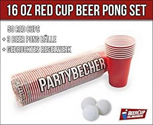 Rote Becher, Red Party Beer Pong Cups 16 oz. 473 ml rot inkl. 3 Beer Pong Bälle und Beer Pong Regelwerk (+ 3 orangene Bälle)