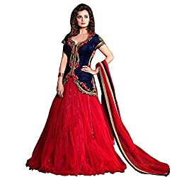 Pramukh Collection Women's Embroidered Georgette Blue & Red Lehenga Choli (PC19_Free Size_Blue and Red)