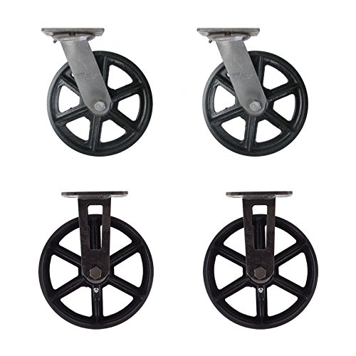 "(Set of 4) 8"" CC Vintage Casters - Plate Mount - 2 Swivel and 2 Rigid"