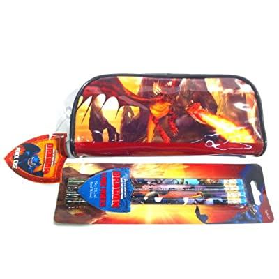 Amazon.com: How to Train Your Dragon Pencil Case & 4 Pencil Set