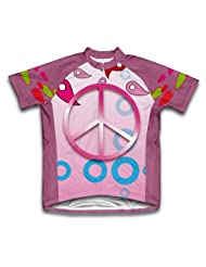 Pink Peace Short Sleeve Cycling Jersey for Women