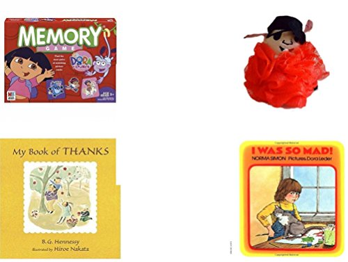Children's Gift Bundle - Ages 3-5 [5 Piece] - Dora the Explorer Edition Memory Game - The Wiggles Captain Feathersword Net Bath Sponge - Ty Teenie Beanie Nuts the Squirrel - My Book of (Mad Teenies)