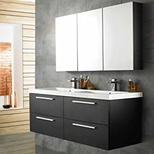 Ensemble meubles salle de bain design moderne bois noir for Meuble sous lavabo noir