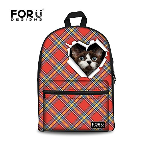 FOR U DESIGNS Lovely Cat Print Casual Student Back to School Canvas Backpacks