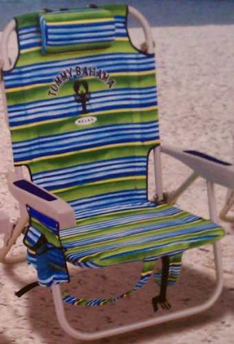Tommy Bahama Backpack Cooler Beach Chair - Blue/Green Striped