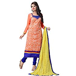 Charming Orange & Blue Coloured Embroidered Dress Material