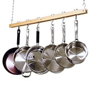Cooks Standard Ceiling Mount Wooden Pot Rack, Single Bar by Cooks Standard