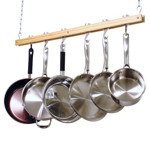 Cooks Standard Ceiling Mount Wooden Pot Rack, Single Bar