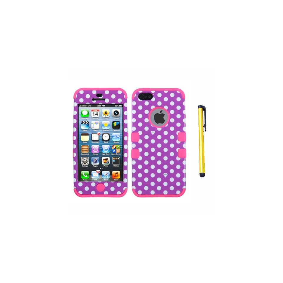 Hard Plastic Snap on Cover Fits Apple iPhone 5/5S/SE Dots(Purple/white)/Electric Pink TUFF Hybrid + A Gold Color Stylus/Pen
