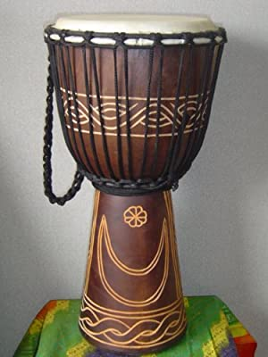"20"" X 10-11"" Deep Carved Djembe Drum, Moon & Star, with Free Cover, Model # 50m15"
