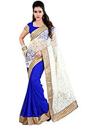 SareeShop Women's Brasso & Net Saree (SonaliBrasso _Blue-Coloured)