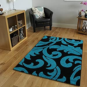 High Quality Contemporary Montego Teal Blue & Black Leaf Design Area Rug - 3 Sizes by The Rug House