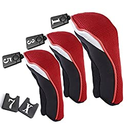 Generic 3Pcs Soft 1 3 5 Wood Golf Club Driver Headcovers Head Covers Set - Red Black