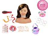 Gotz 1192053 Large Styling Head with suction pads on the bottom, with 58 pcs, brownhair, brown eyes