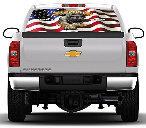 USMC Devil Dogs #3- 22 inches- by- 65 inches- Rear Window Graphic-(PLEASE MEASURE YOUR WINDOW PRIOR TO ORDERING) (Rear Window Graphics Usmc compare prices)
