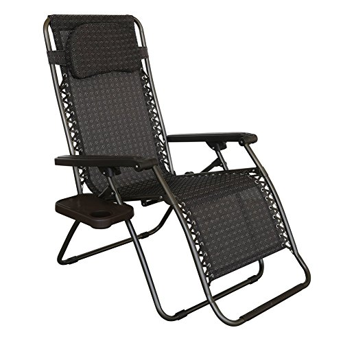 Abba Patio Oversized Zero Gravity Chair Recliner Patio Lounge Chair with Detachable Drink Tray