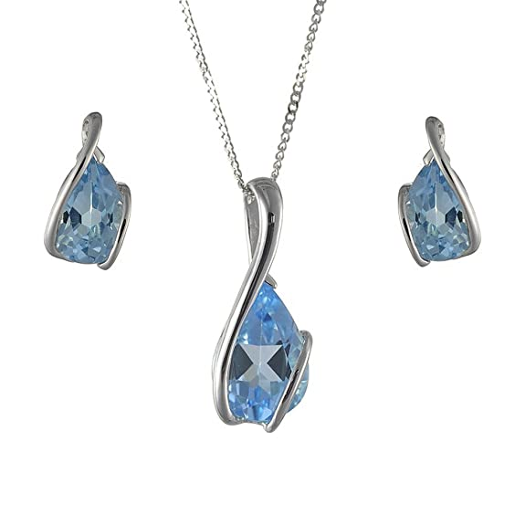 Ivy Gems 9ct White Gold Earrings and Pendant Set with 46cm Curb Chain