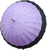 絵が浮出る不思議傘 桜に音符 江戸紫に黒