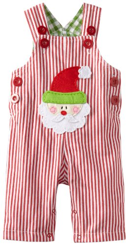 Mud Pie Baby-Boys Infant Santa Overall, Multi
