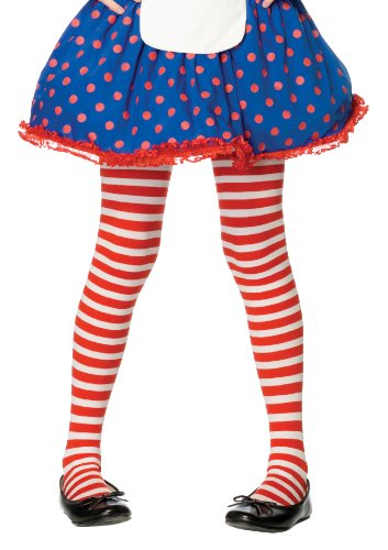 Red/White Striped Tights Child