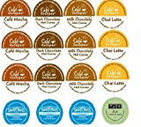16 Pack - Variety Hot Chocolate Cocoa, Chai Latte Sampler for Keurig Brewers - Cafe Escape, Swiss Miss