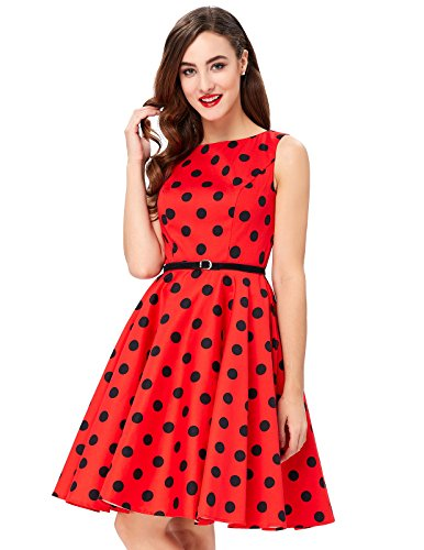 Polka Dot Red 1950's Vintage Wiggle Dresses A-Line Size XL F-7