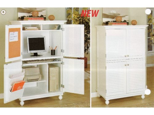 Buy Low Price Comfortable White wood finish country style computer armoire cabinet desk (B000XBNVN4)
