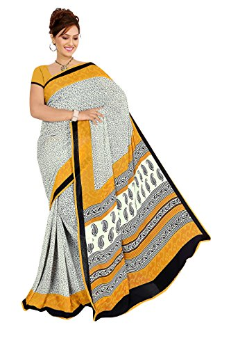 Varsha Sarees Women's Synthetic Georgette Unstitched White Colored Geometric Print Saree_3845