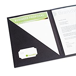 Report Cover w/Clear Interior Pocket, 8-1/2 x 11, Black, 4/Pack, Sold as 1 Package