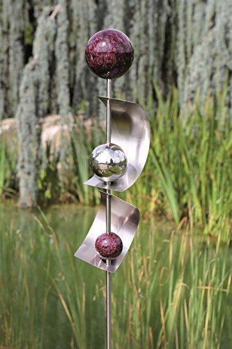 exklusive gartenstange gartendeko gartenskulptur bows aus edelstahl mit 4 kugeln und 2 b gen. Black Bedroom Furniture Sets. Home Design Ideas